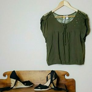 mimi chica Top Studded Lace Olive Green Medium